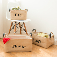 Thicken Cloth Art Cotton and Linen Foldable Jute Storage Basket for Home Garden Organization