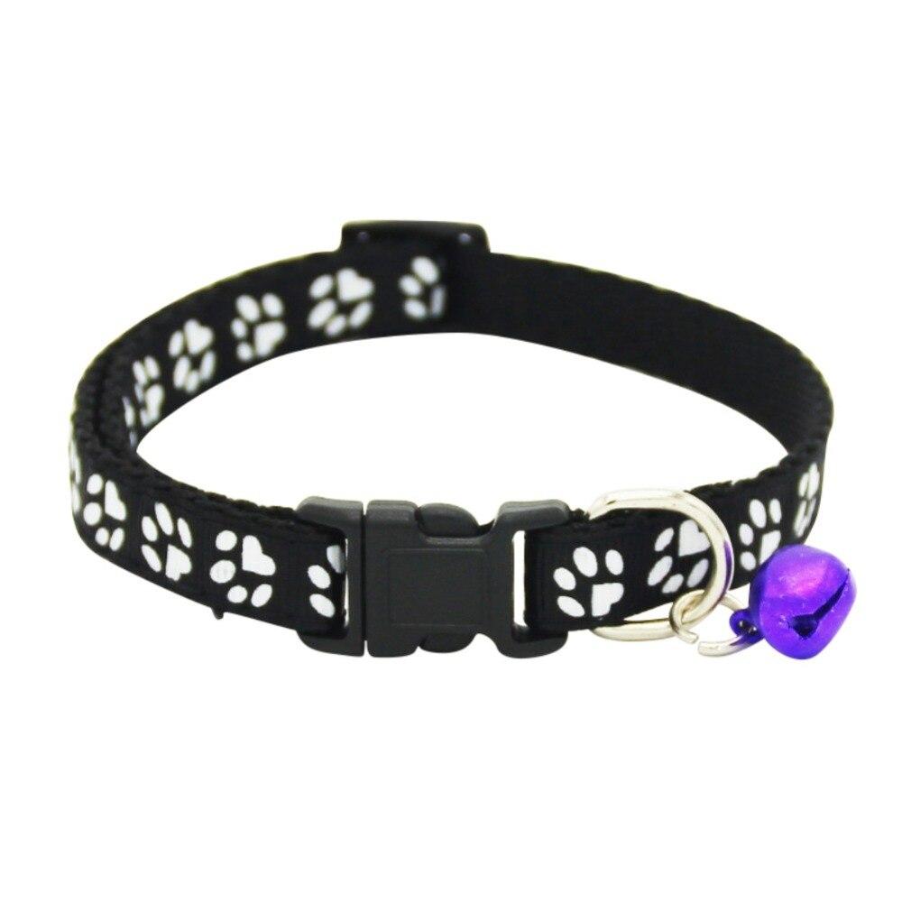 Collier pour animaux de compagnie chien chat accessoires pour animaux de compagnie empreinte de sécurité réglable en Nylon laisse colliers avec cloche accessoires pour animaux de compagnie - 3