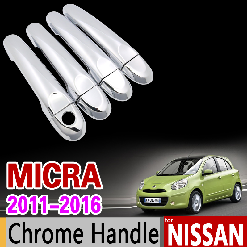 for Nissan Micra K13 Chrome Handle Cover Trim March Renault Puls 2011 2012 2013 2014 2015 2016 Accessories Stickers Car Styling car panel body cover protection trim front up grid grill grill racing 1pcs for nissan march 2011 2012 2013 2014 2015 2016 2017