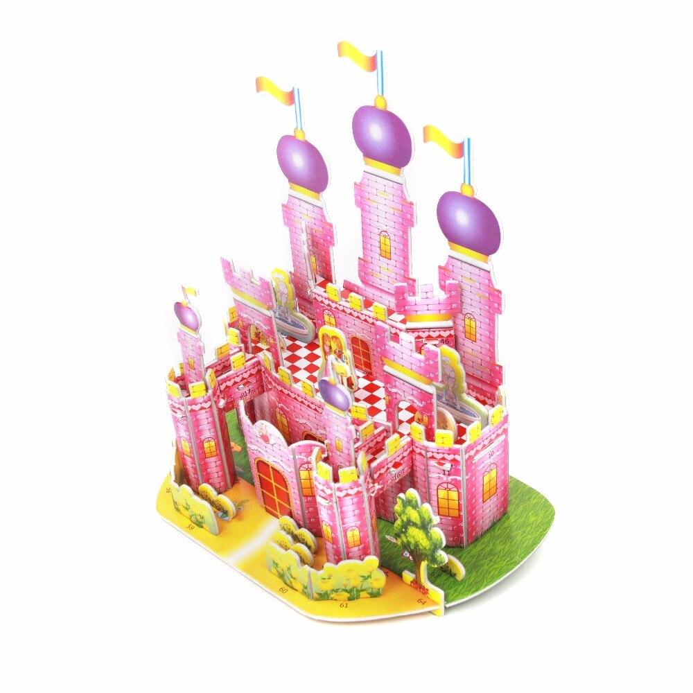 3D Mini Pembe Kale Bulmaca Çocuk El-yapmak Yapı Evi Puzzle Oyuncak Bebek Erken Eğitim oyuncak Için Hediye Olarak çocuk