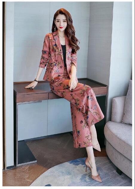 pink Blue Fr1094 Floral Moda De Suelto Mujeres Dama Slim Casual Traje 2018 Unidades Otoño Floral Trajes Oficina Las Nuevas 2 Prendas RTwq4Uw6f