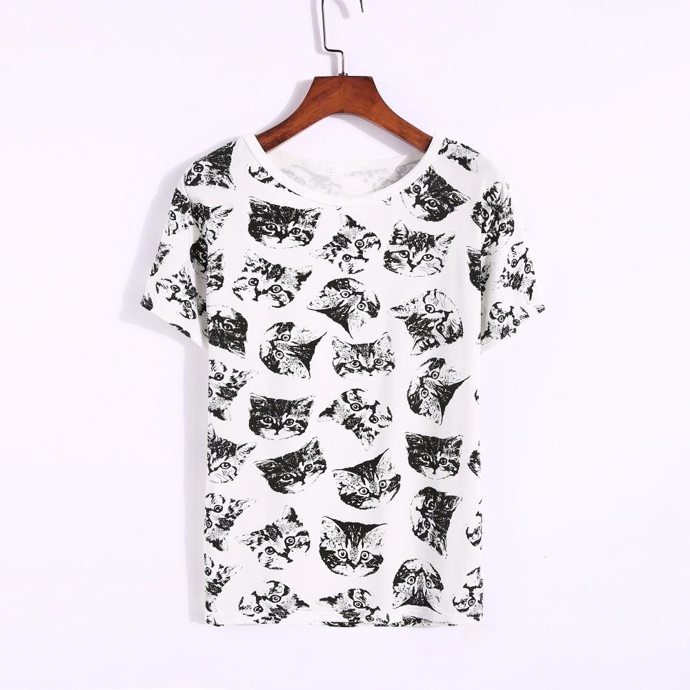 Női felső nyár Új divat női póló koreai édes rajzfilm macska nyomtatott női rövid ujjú tops plusz méret M-4XL