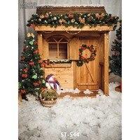 Pano de vinil feito sob encomenda Bonito casa de madeira da árvore de Natal de neve cenários de fotografia para crianças dos miúdos photo studio fundos retrato