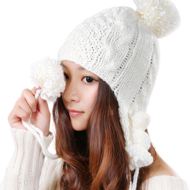 Invierno bombardero sombreros calientes del Kawaii Handwear infinito de punto Color sólido del casquillo del sombrero tocado Warmer Protector del oído 6 colores M0350