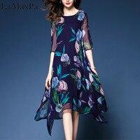 Новое поступление Летнее шелковое платье с цветочным принтом женское нерегулярное платье свободное модное высокое качество повседневное ...