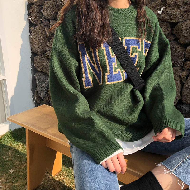3 Colors 2019 Autumn And Winter Korean Vintage Style Letter Long-sleeve Pullover Thick Knitted Sweaters Womens  (X200)