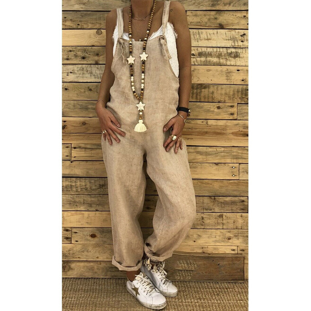 2019 Women Casual Solid Strappy Dungarees Vintage Cotton Linen Loose Party Long Harem Overalls Rompers Jumpsuits 2