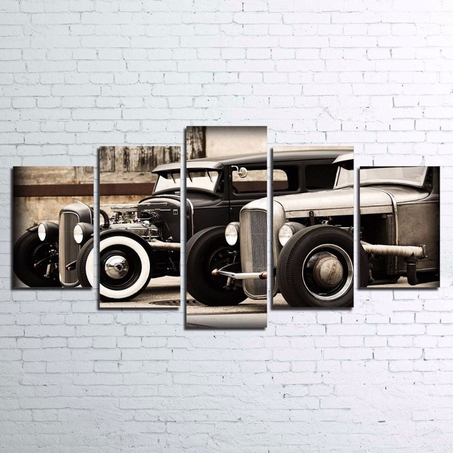 Modular Poster HD Printed Canvas Painting Frame For Living Room Wall Art 5 Pieces Hot Rod Vintage Car Pictures Home Decor PENGDA