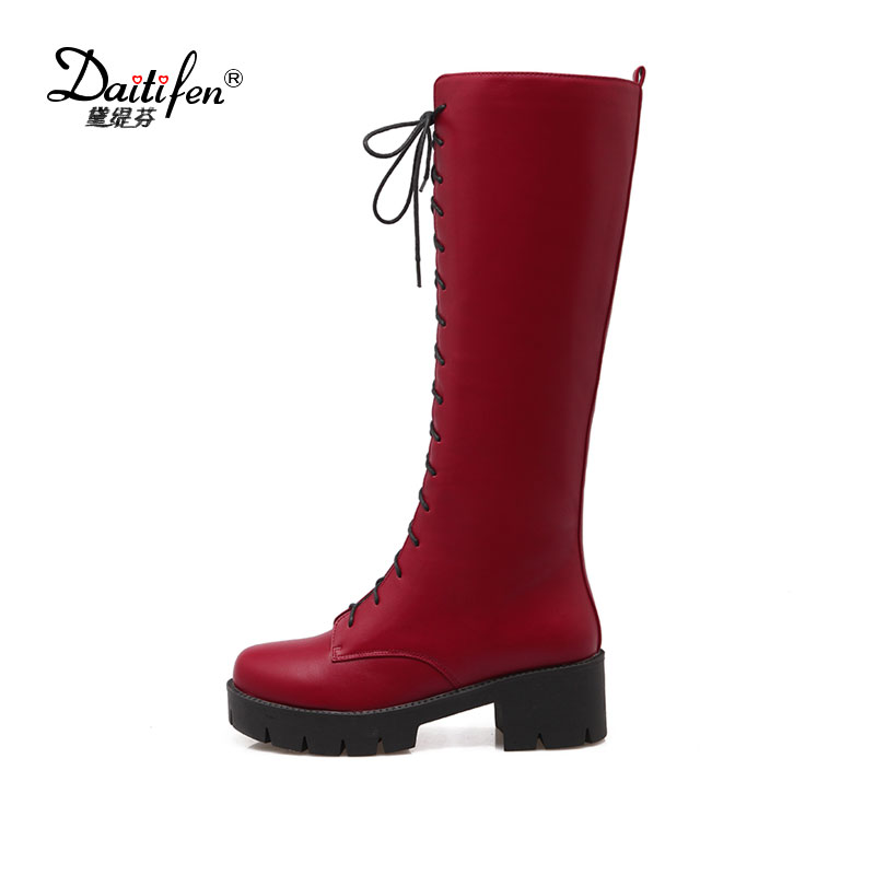 Fanyuan Plus Size 42 Lace Up Knee High Boots Women Autumn Soft Leather Fashion White Square Heel Woman Shoes Winter Hot Sale plus size 34 45 autumn winter women boots high heels lace up ladies sapatos martin leather boots square heel snow boots shoes