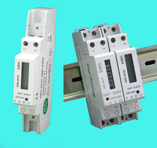 Smallest single phase two wire DIN Rail energy meter with LCD ...