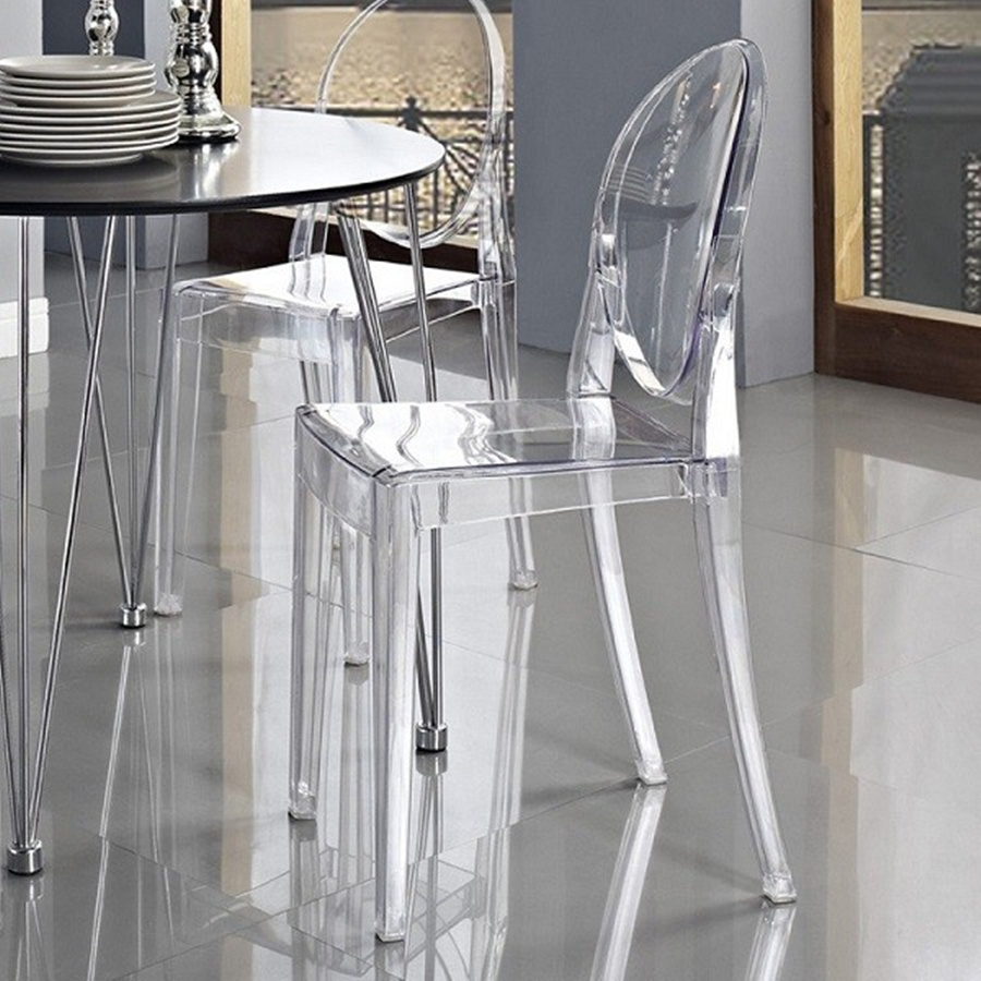 1/2/4/6 PCS Dining Chair CLEAR GHOST TRANSPARENT MODERN PLASTIC DINING CHAIR / VANITY DRESSING CHAIR
