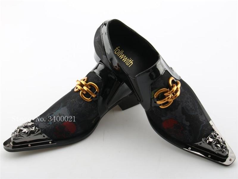 f6435966a Casuais Decoração New 2019 Homens Vestido Deslizamento Squre Metal Negócios  Mocassins Pic As Pic Correntes Em Apontou Baixo as Ouro Sapatos Flats Toe  ...