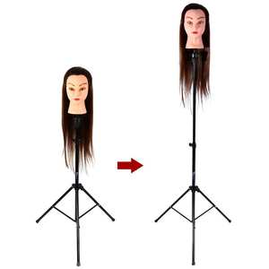 Mannequin Head Tripod Hair Wig Adjustable Tripod Stand Holder Hairdressing Training