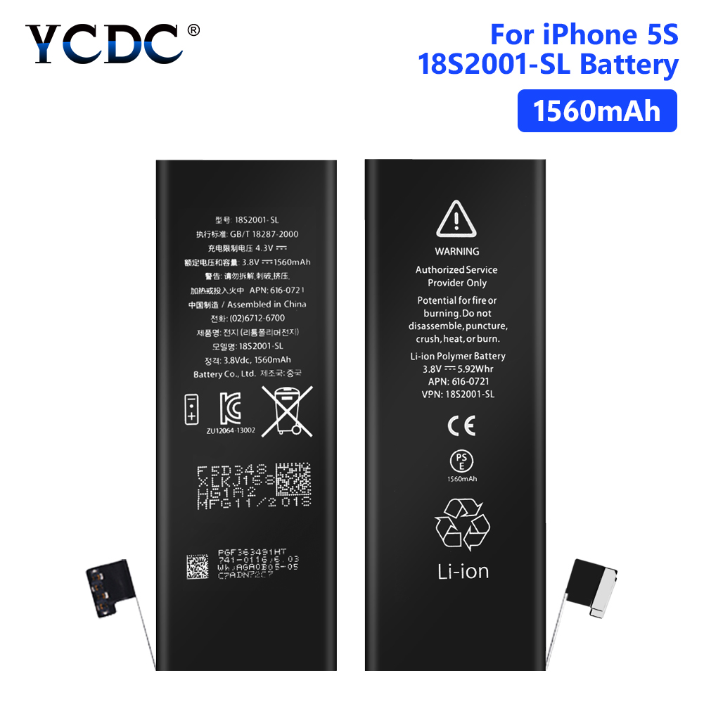 YCDC Lithium Polymer Phone High Quality 3.8V 1560mAh <font><b>Battery</b></font> For Rechargeable Phone Bateria <font><b>iPhone</b></font> <font><b>5S</b></font> 5C iPhone5S <font><b>Batteries</b></font> image