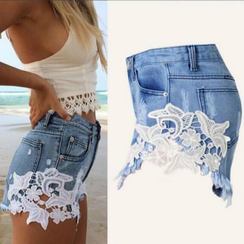 2018 Summer Style Shorts Women Jeans Lace Floral Button Ripped Denim Shorts Mini Plus Size S-XXL Short Feminino