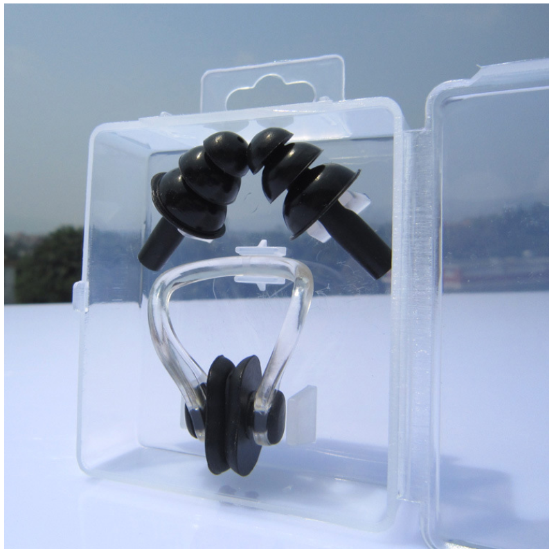 1 Set Waterproof Soft Silicone Swim Nose Clip Ear Plugs Equipment Supplies Children Adult Swimming Tool Unisex Nose Clip Earbuds