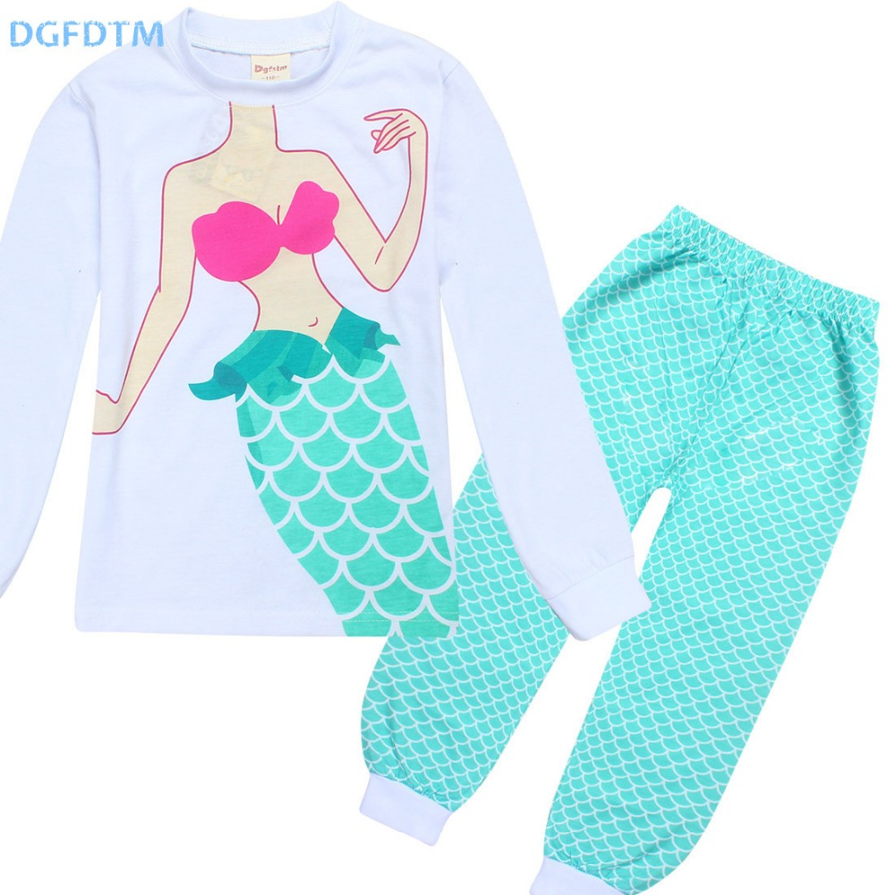 2017 Autumn Girls Pajamas Long sleeve cute Mermaid Pjs Toddler Clothes Kids T Shirts pijamas Set
