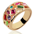 Fashion Thumb Forefinger Middle Finger Rings for Men Women Unisex with Austrian Crystal Gold Plated