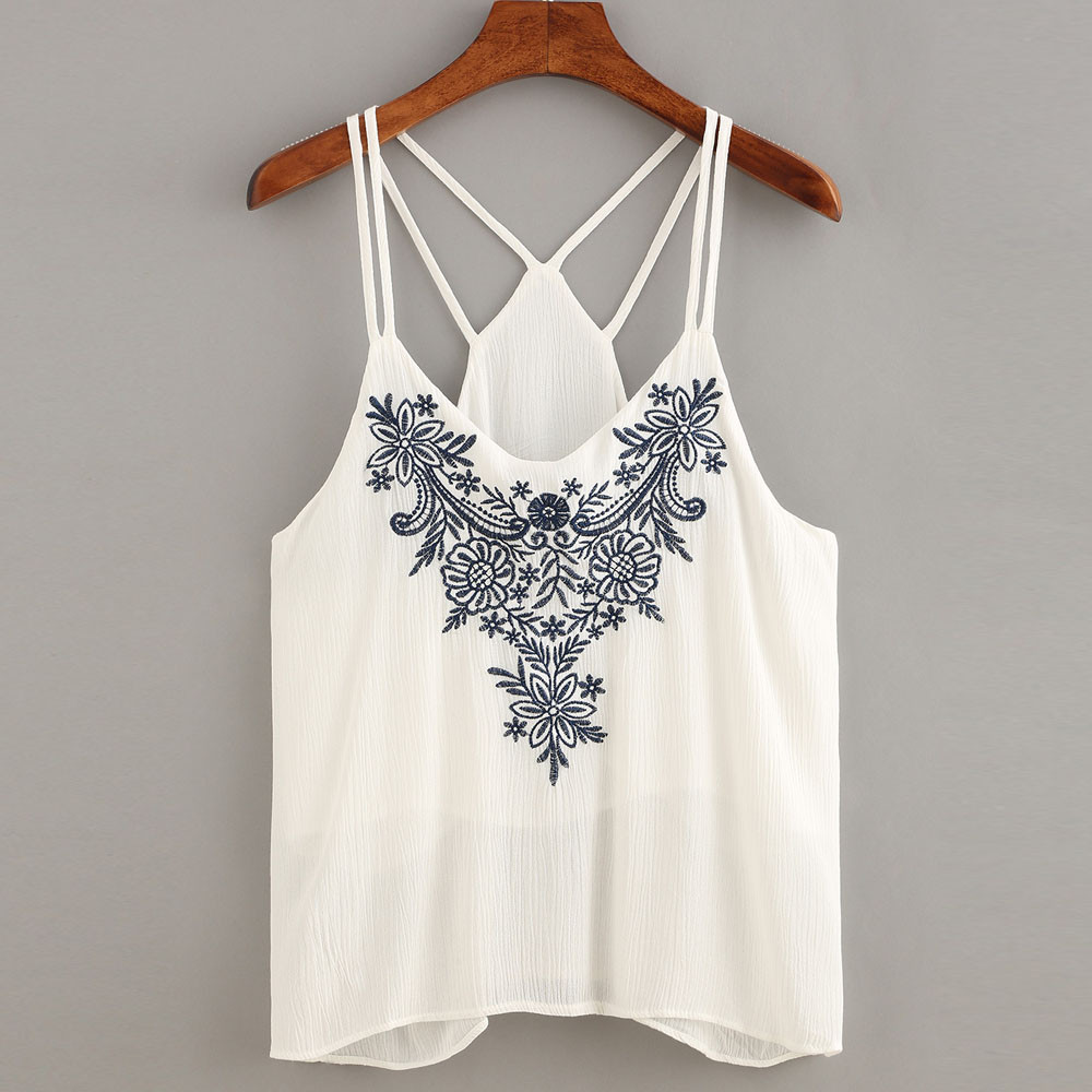 Sexy Backless Halter Cami Crop Top Women Fashion Flower Embroidered Shirts Ladies Sleeveless Strappy Summer Tops Cute Girls #YL