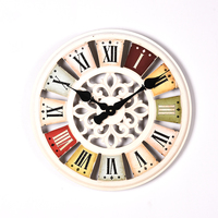 High Precision 50cm Retro Mediterranean Colorful Silent Wall Clock Vintage Antique with White Numeral Clock for Home Decor Hot