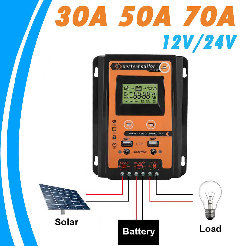 PowMr 70A 50A 30A Solar Charger Controller 12V 24V Auto Solar Panel Battery Regulator LCD Display Dual USB Output Solar System