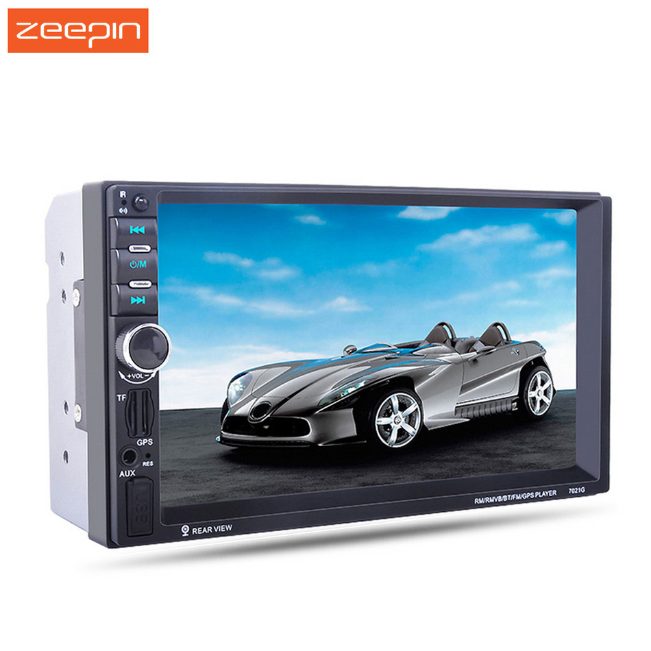 7021G 2 Din In Dash Audio Video Player ,7 HD Touch Screen Car MP4 MP5 Bluetooth Player Russia GPS Navigation FM AUX USB SD FLAC