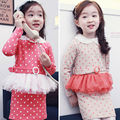 2017 Spring Cute Dresses For Teenage Girls Long Sleeve Dress Girl Cotton Dot A-line O-neck Above Knee Sashes Dress For Kids