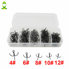 JSM 150pcs 35647 High Carbon Steel Treble Fishing Hooks Black Hard Lure Round Bent Triple Artificial Lure Fishhooks Set With Box