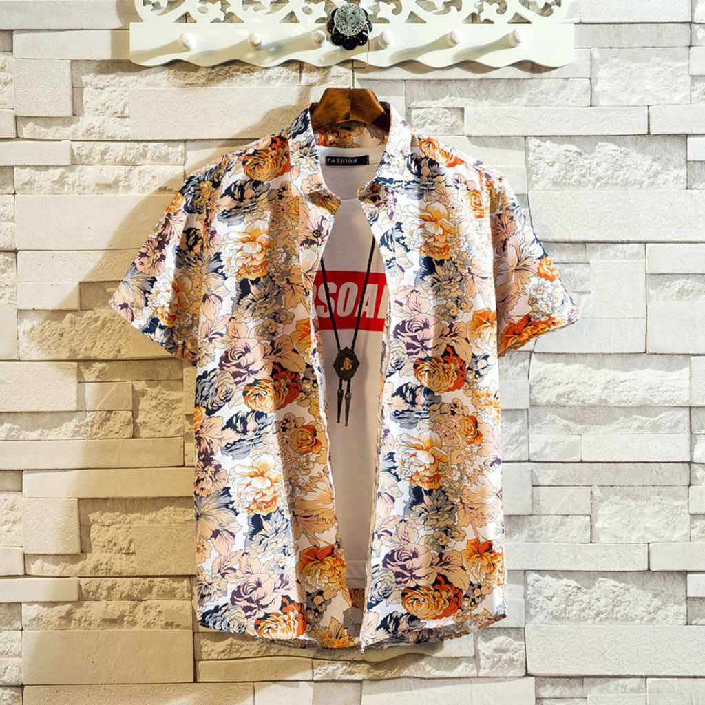 Camisa de verano con estampado de estilo de playa Hawaiano para hombre, camisa informal de manga corta de Hawaii, camisa masculina, talla asiática 5XL May30