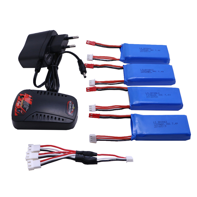 4 Pcs 7.4V 1200mAh 30C Battery + Charger and Connecting Cable for Yizhan X6 / MJX X600 X601H RC Quadcopter Free shipping 3pcs battery and european regulation charger with 1 cable 3 line for mjx b3 helicopter 7 4v 1800mah 25c aircraft parts