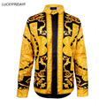 Men Rtro Style Harajuku Noble Medusa Shirt Hipster Fashion Gold Flower Stripe Print Long Sleeve Spring Sweater Cool Shirt