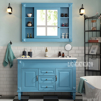 European Wood Bathroom Furniture Bathroom Cabinet Combination 2 door 3 drawer Bathroom Storage Cabinet With Mirror 110cm/120cm