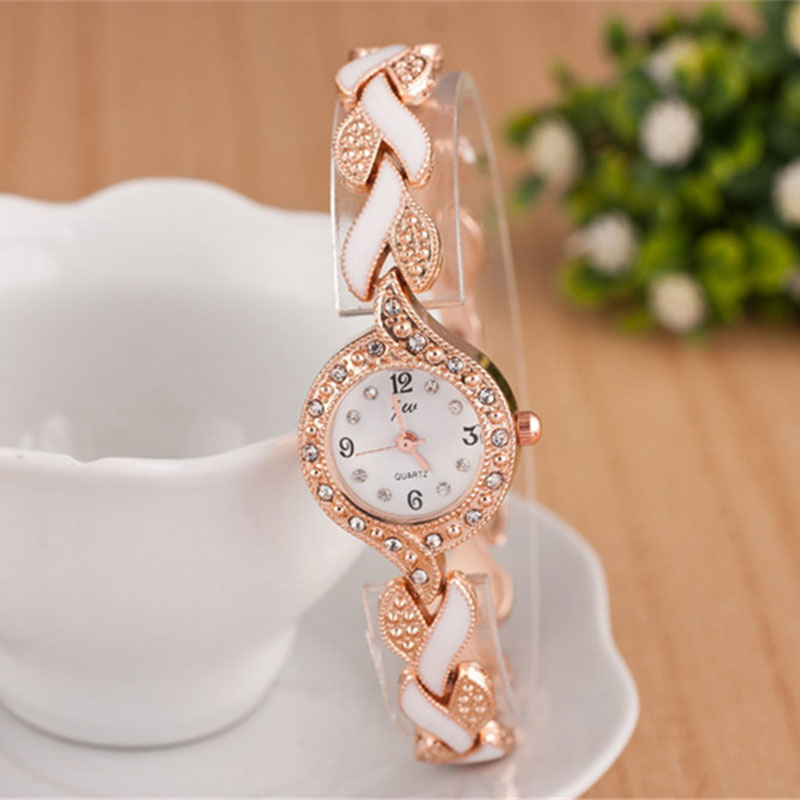 Top Brand Women Quartz Bracelet Watch Rose Gold Female Clock Steel Montre Femme Metal Band Ladies Luxury Rhinestone Watches 2017