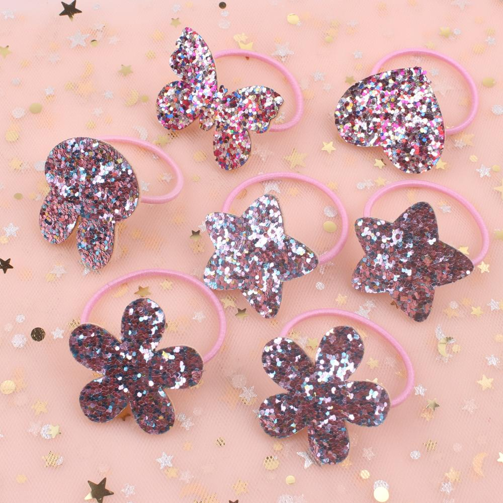 2019 New Lovely Pink Luminous Scales Tie Butterfly Model Girls Elastic Hair Bands Head Rope Hair Ring Hair Accessories For Kids