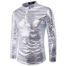 93d6b834bf2 Mens Night Club Coated Metallic Halloween Gold Silver Single Breasted Shirts  Party Male Shiny Long Sleeves Shirts plus size
