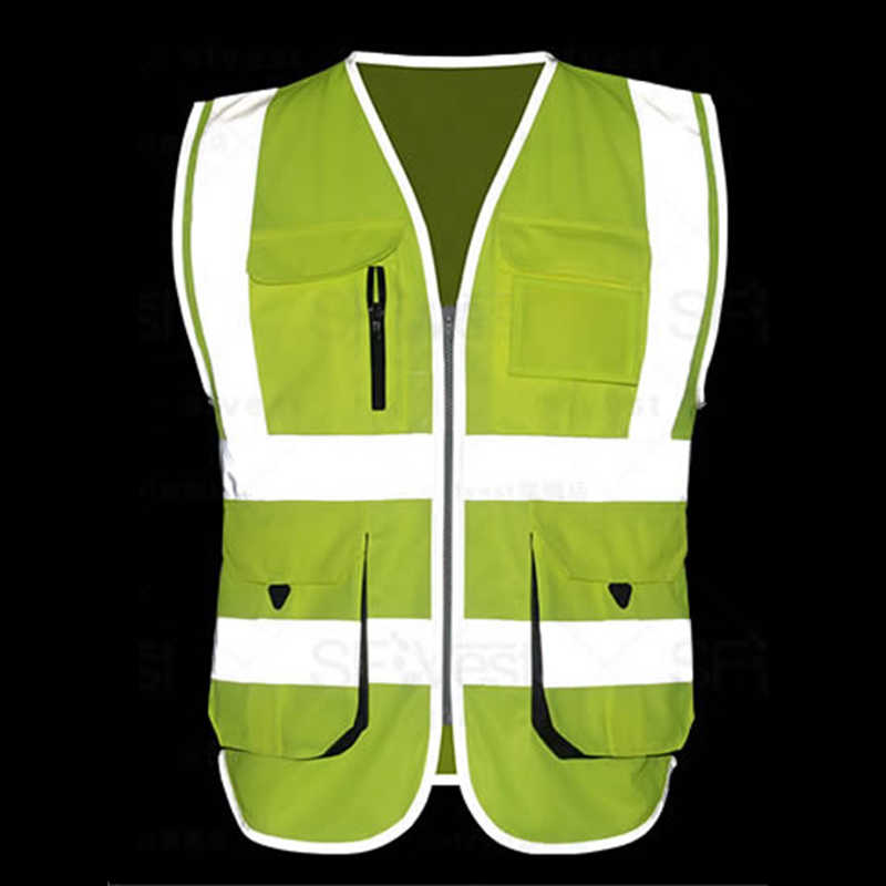 High visibility reflective safety vest multi pockets miner construction worker workwear safety waistcoat free shipping