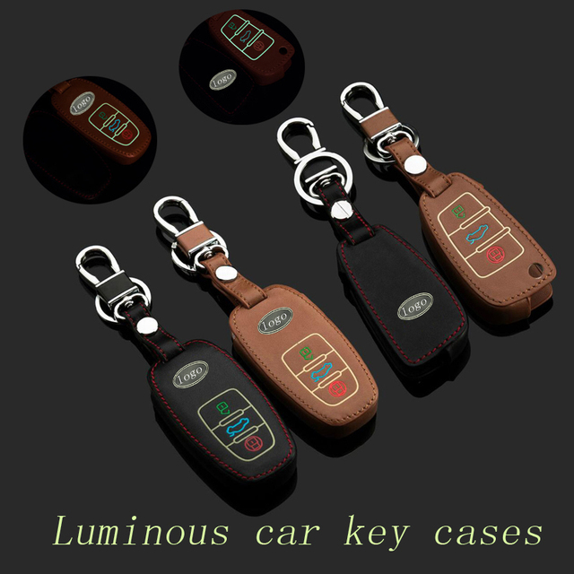 Genuine Leather Car Key Case Fob Cover Fits for Audi A4L A6L Q5 A3 A5 A7 A8 S5 S6 S7 Remote Alloy Key Rings Car Keychain Holder