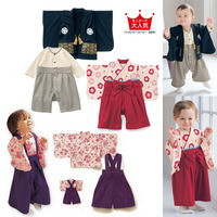 Japan Long Sleeve Kimono Baby Cotton Kawaii Cherry Kimono Suit Baby Boy Girls Clothes High Quality