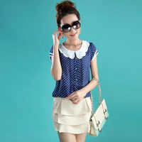 Mujer primavera más tamaño Dot manga corta mariposa Lino camisas verano Mujer gran tamaño blusa señora camisa de un solo pecho