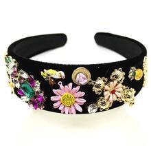 Gemstone Headband Jewel Baroque Womens Jeweled Bird Sunflower Acrylic Diamond Head Band Rhinestones Headwear Hair Accessories