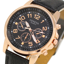 2015 New Unisex WristWatches Men's Women's Geneva Sub-Dials Faux Leather Strap Quartz Analog Wrist Watch For Women Men 5UYX