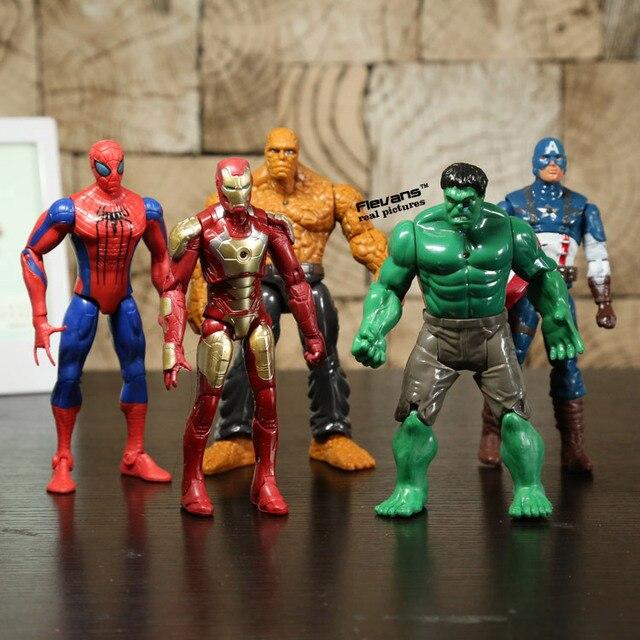 Super héros Iron Man la chose Hulk Captaib amérique Spiderman PVC figurines jouets 5 pièces/ensemble HRFG398
