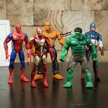 Superbohaterowie Iron Man rzecz Hulk Captaib ameryka Spiderman pcv Action Figures zabawki 5 sztuk/zestaw HRFG398