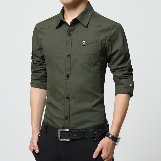 Tactial shirt men 2017 new button down shirts for men long for Mens military style long sleeve shirts