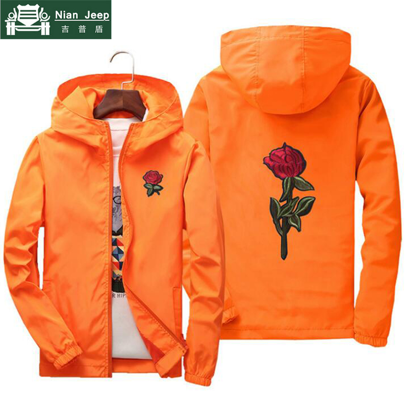 Flower Windbreaker Bomber-Jacket Rose NIANJEEP Jaqueta Embroidery Hooded Puls-Size Skin