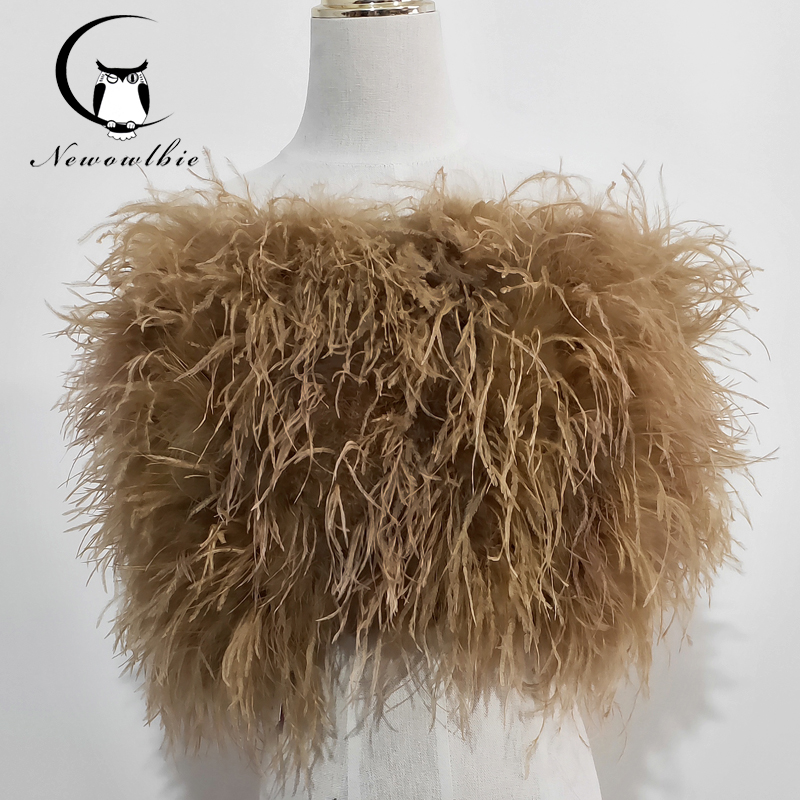 Nouveau 100% naturel autruche cheveux soutien-gorge sous-vêtements femmes fourrure manteau réel autruche fourrure manteau mini jupe
