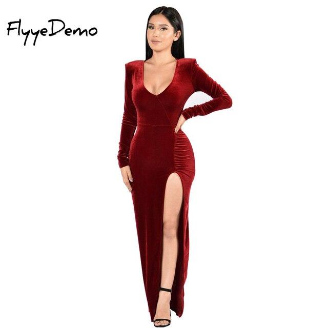 aff349dc6 2019 de terciopelo de alta calidad vestido de Navidad Sexy V cuello cálido  de manga completa