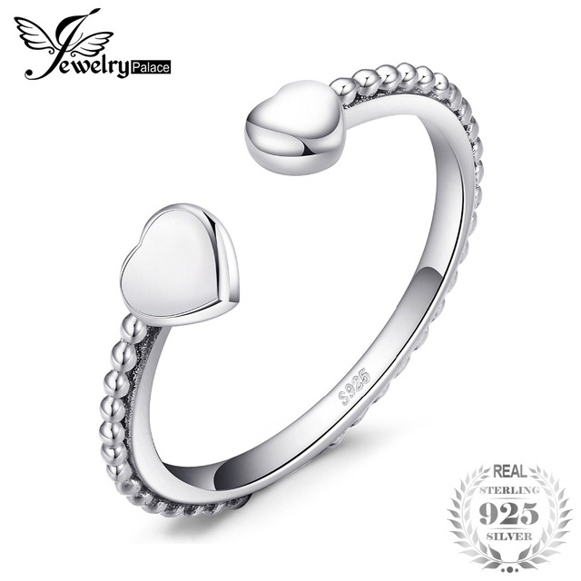JewelryPalace Authentic 925 Sterling Silver Two Heart Open Rings For Women Love Gifts Anniversary Fine Jewelry New Arrival