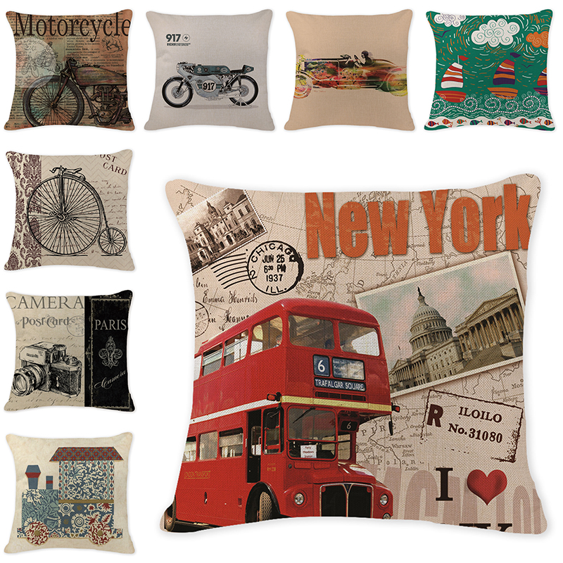 Vintage Traffic Printing Cotton Linen Cushion Cover Decorative Pillowcase  Cartoon Airplane Bicycle Bus Pillow Cover Home Living