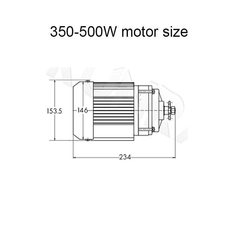 350-500W motor size